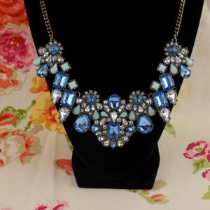blue and clear rhinestone statement necklace